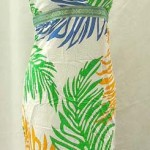 wholesale clothing Suppliers. Tropical floral prints rayon long dresses with embroidery ribbon. Deep V, tie on neck.