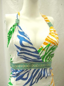 Wholesale bali dresses. Tropical floral prints rayon long dresses with embroidery ribbon. Deep V, tie on neck.