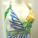 Tropical Dresses wholesale. Tropical floral prints rayon long dresses with embroidery ribbon. Deep V, tie on neck.