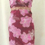 wholesale summer dress. Tropical floral prints rayon long dresses with embroidery ribbon. Deep V, tie on neck.