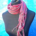 evening shawls scarves. metallic-thread-strips-shawls.