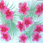 wholesale sarongs apparel. tropical floral hawaiian dress sarong, hibiscus pink flowers and palm leaves on white background.