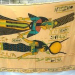 wholesale sarong hand painted. Egyptian mythology sarong, Goddess Hathor and Queen Nefertari papyrus.