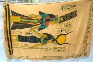 wholesale sarong hand painted. Egyptian mythology sarong, Goddess Hathor and Queen Nefertari papyrus.