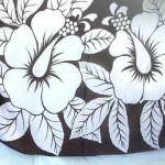 wholesale sarong wrap. large hibiscus sarong black and white.