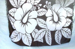 wholesale sarong wrap. large hibiscus sarong black and white.
