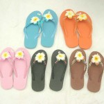 wholesale bali sandals. assorted colors rubber sandal with foam plumeria flower, beads, and sequins.