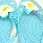 wholesale sandal. assorted colors rubber sandal with foam plumeria flower, beads, and sequins.