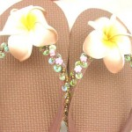 wholesale beaded sandal. assorted colors rubber sandal with foam plumeria flower, beads, and sequins.