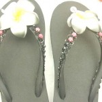 flip flop sandal wholesale. assorted colors rubber sandal with foam plumeria flower, beads, and sequins.