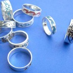 wholesale cz rings. Fancy tattoo gemstone inlay sterling silver ring, randomly picked by our warehouse staffs.