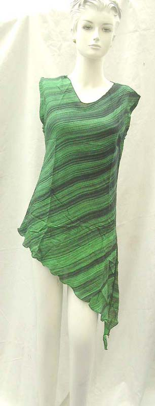 Tropical Dresses wholesale. Fashionable angle cut rayon top.