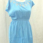 wholesale apparel dresses. rayon women's top with embroidery on neck, shoulder and bottom, front and back.