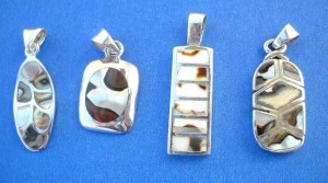 earring and pendant jewelry set . Assorted tiger seashell sterling silver pendant, randomly picked by our warehouse staffs.