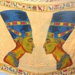 wholesale sarongs apparel. King Tutankhamun and Queen Nefertiti Egyptian design sarong.