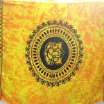 Bali Sarong. orange yellow tie dye Indian deity Ganesh sarong.