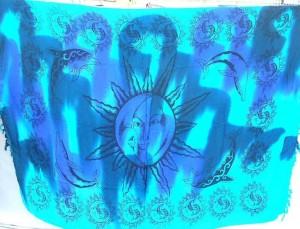 wholesale batik sarongs. tie dye sun face and dolphin sarong.