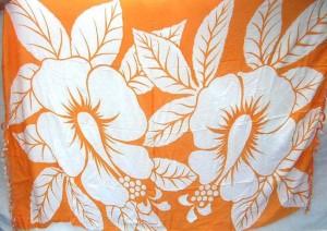 wholesale sarong bali. huge hibiscus flower orange sarong.