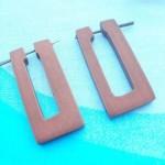 wholesale wooden earrings. retangular wooden pin earring.