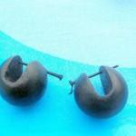 bali wooden earrings earlets . wooden sphere earings with wooden pin.