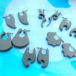 wholesale wooden earring earlets stretchers. assorted design wooden stick organic earrings.