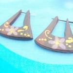 bali wooden earrings earlets. handcrafted handpainted floral design wood peg earrings.