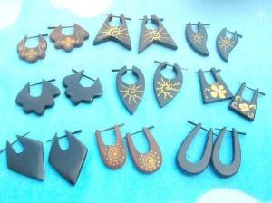 Organic Jewelry Earrings From Bali Indonesia. assorted design of wood peg earrings.