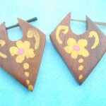 wholesale wooden earring earlets stretchers. Pin style earring organic wooden jewelry yellow handpainted flowers.