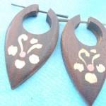 Organic Jewelry Earrings From Bali Indonesia. wooden peg earlets earrings flowers design.