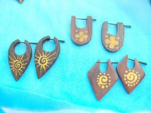 flesh plugs organic earrings. painted designs of peg earrings.