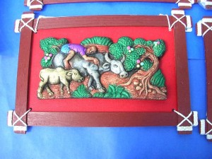 Bali handcaved handpainted cremaic stone arts on wooden frame