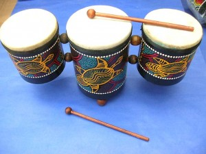 handcrafted hand-painted triple bali drum with stick, assorted colors and designs randomly picked