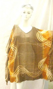Brown gold color V-neck empire waist hippy style kaftan turnic with embroidery. Made in Indonesia. One size one color