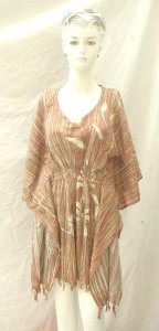 Handpainted brown stripes Bali rayon empire waist caftan (kaftan) turnic coverup. Made in Indonesia. One size one color