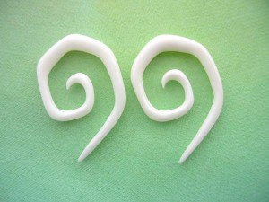 Pair Tribal Organic Buffalo Bone Hook Hanger Plugs
