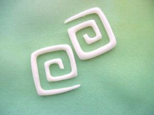 White bone corner spiral tapers organic plugs