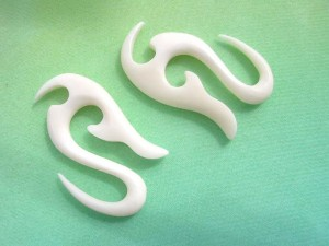 natural tapered plugs bone earring