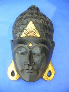 buddha face mask nautral balck, gold ears and forehead