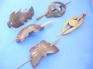 coconut rattan hairpins made in Bali Indonesia