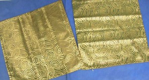 gold color cirlces polyester fabric cushion cover, silky finish