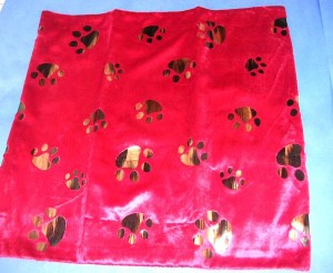 reddish and gold pet footprints polyester fabric cushion cover, velvet finish