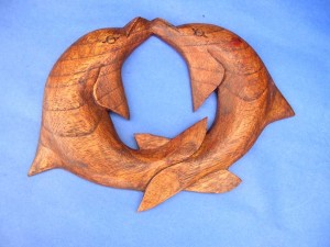 joining dolphin couple wooden carved wall plaque