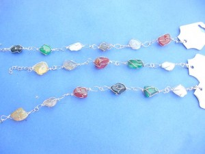 fashion anklet with wired gemstone beads