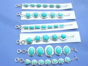costume jewelry genuine turquoise gemstone bracelets with toggle clasp