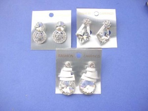 heavy fashion earrings with large clear cz stone, stud post backing