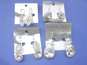 heavy fashion earrings with large clear cz stone, clip on hook