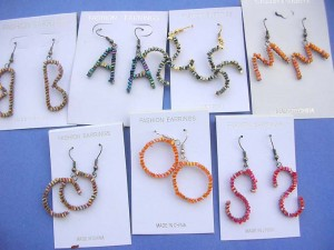 Fashion jewelry assorted alphabet letters beaded fashion earrings
