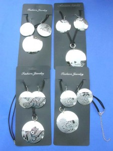 silver tone trendy fashion jewelry set, black cord necklace and earring matching
