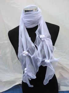 fashion polyester scarf with faux pearl beads