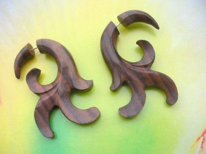 Wooden Split Expanders Earrings Fakies